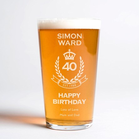 Personalised Pint Glass - 40th Birthday Crest